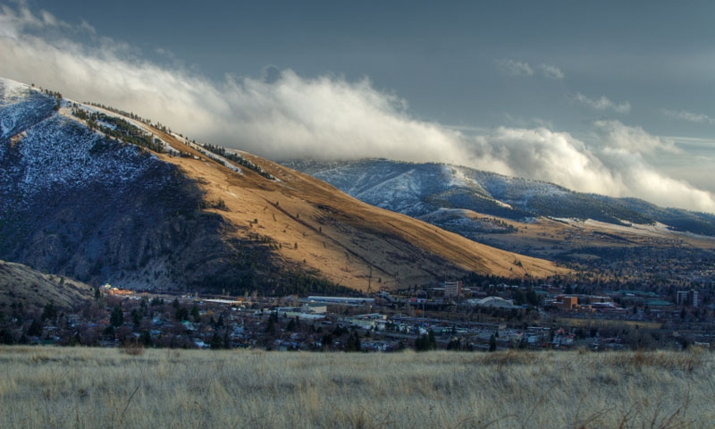 Snow dusting on Mount Sentinel in Missoula