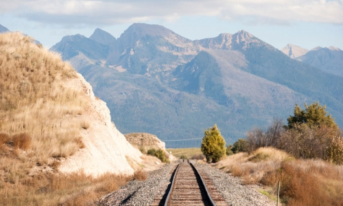 Train Track before the Mission Mountains